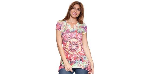 Dámske predĺžené tričko s farebnou potlačou Peace&Love