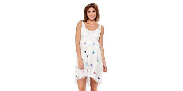 Dámske biele šaty s kvetinkami Peace&Love