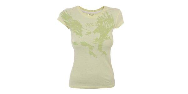 Dámske žlté tričko so zelenou potlačou Hannah
