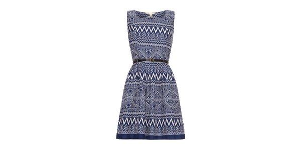 Dámske modré šaty s aztéckym vzorom Yumi