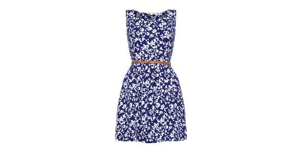 Dámske modré šaty s bielymi motýlikmi Yumi