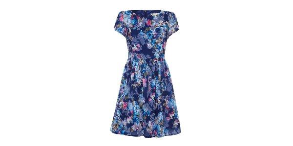 Dámske modré šaty s kvetinovým vzorom Yumi