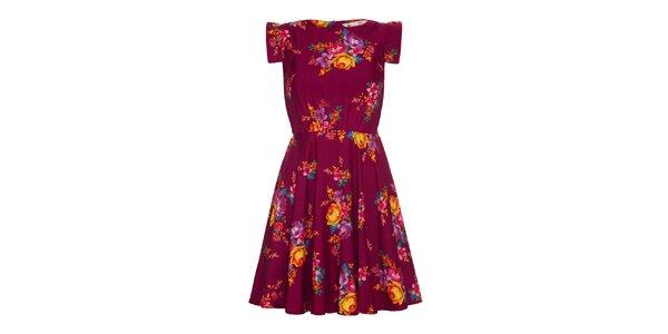 Dámske vínovo červené šaty s kvetinami Yumi