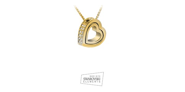 Dámsky pozlátený náhrdelník so srdcovým príveskom Swarovski Elements