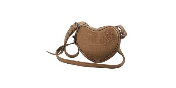 Dámska bronzová kabelka Red Hot v tvare srdca