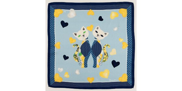 Dámska modrá hodvábna šatka Braccialini s mačkami