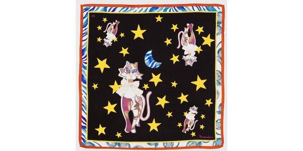 Dámska čierna hodvábna šatka Braccialini s mačkami