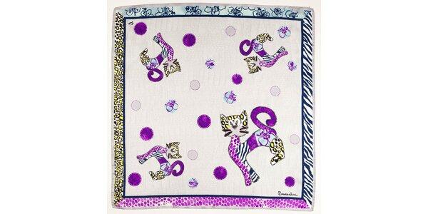 Dámska fialovo-modrá hodvábna šatka Braccialini s mačkami