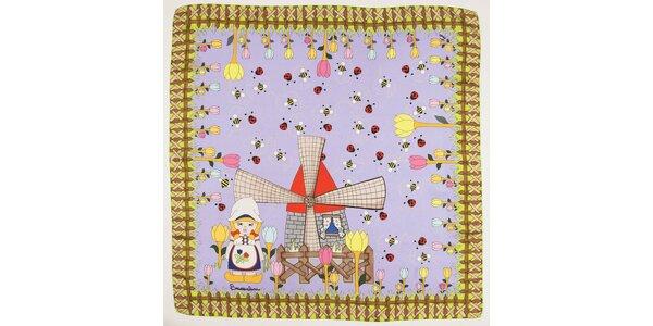 Dámska svetlo fialová hodvábna šatka Braccialini s holandským motívom