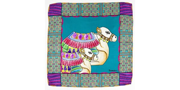 Dámska tyrkysovo-fialová hodvábna šatka Braccialini s ťavami