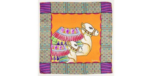 Dámska oranžovo-fialová hodvábna šatka Braccialini s ťavami