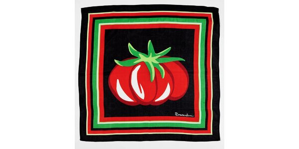 Dámska čierna hodvábna šatka Braccialini s veľkou paradajkou