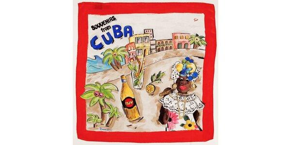 Dámska červená hodvábna šatka Braccialini s kubánskym motívom