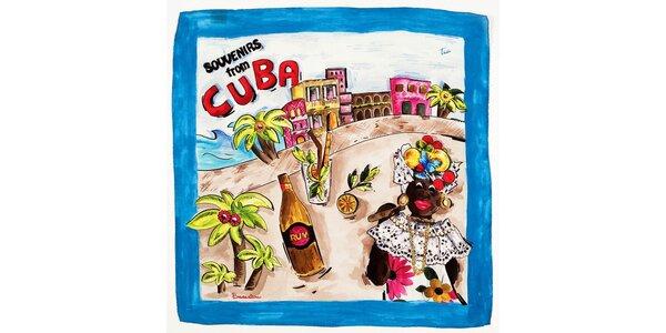 Dámska modrá hodvábna šatka Braccialini s kubánskym motívom
