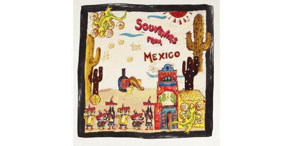 Dámska hodvábna šatka Braccialini s mexickým motívom