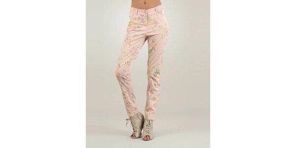 Dámske ružové nohavice Lilly´s Mood s kvetinovou potlačou