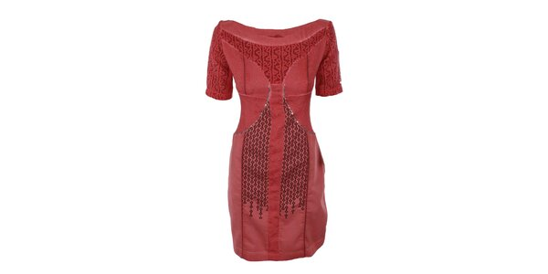 Dámske červené šaty s flitrami na bruchu Angels Never Die