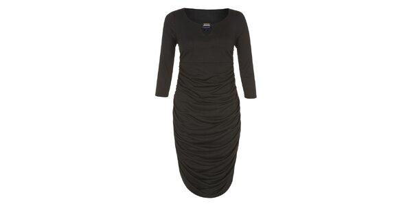 Dámske čierne šaty so zlatou ozdobou Hot Squash