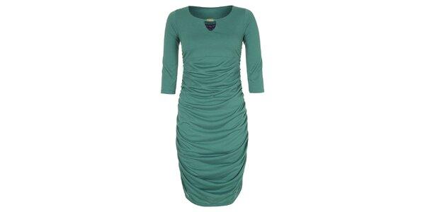 Dámske zelené šaty so zlatou ozdobou Hot Squash