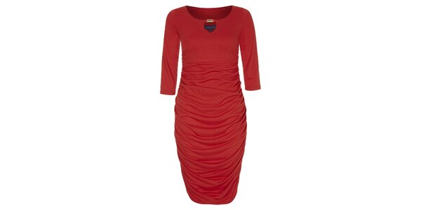 Dámske červené šaty so zlatou ozdobou Hot Squash