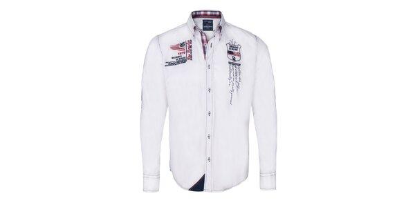 Pánska biela košeľa s výšivkami Giorgio di Mare