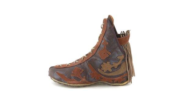 Dámske kožené hnedé členkové topánky so strapcami Diesel