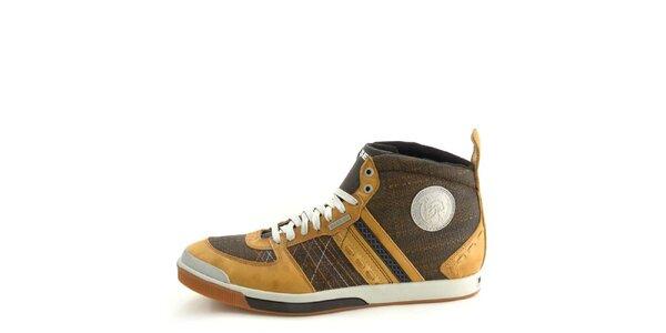 Pánske kožené hnedo-béžové členkové topánky Diesel