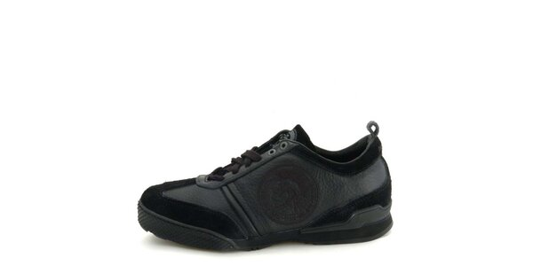 Dámske kožené čierne tenisky s prešívaním Diesel