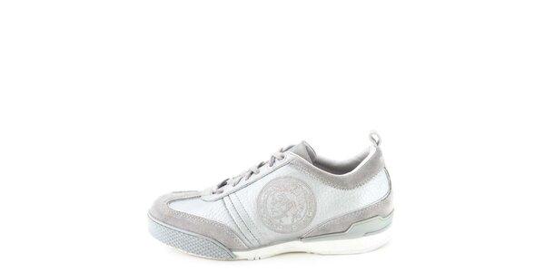 Dámske kožené šedo-strieborné tenisky s prešívaním Diesel