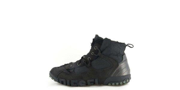 Pánske kožené čierne členkové topánky s kožúškom Diesel