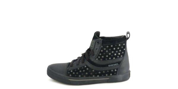 Dámske kožené čierne členkové topánky s metalickými cvokmi Diesel