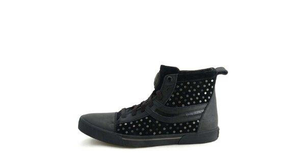 Pánske kožené čierne členkové topánky s kovovými kolieskami Diesel
