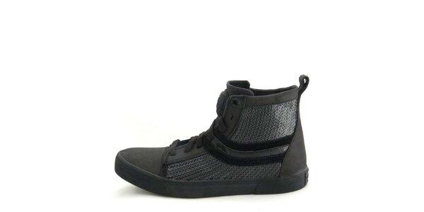 Dámske kožené čierne členkové topánky s flitrami Diesel