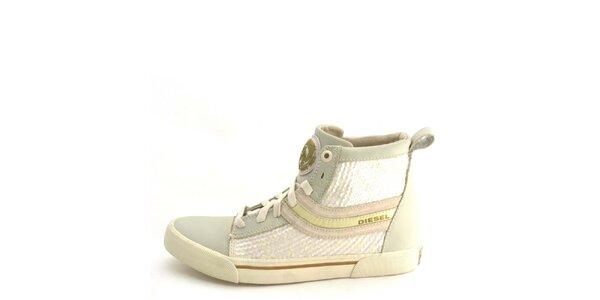 Dámske kožené béžové členkové topánky s flitrami Diesel