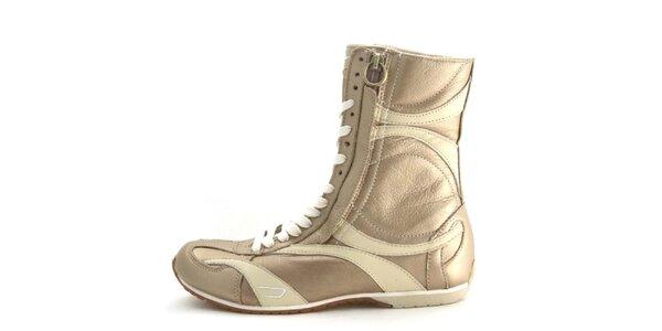 Dámske kožené tmavo béžové vysoké šnurovacie topánky na zips Diesel