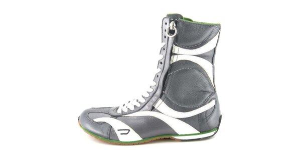 Dámske kožené šedo-biele vysoké šnurovacie topánky na zips Diesel