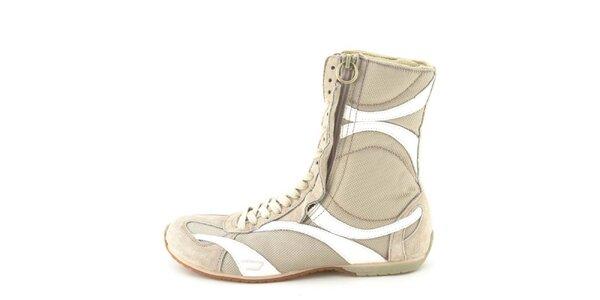 Dámske kožené béžovo-biele vysoké šnurovacie topánky na zips Diesel