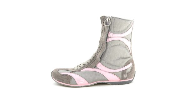 Dámske kožené šedo-ružové vysoké šnurovacie topánky na zips Diesel