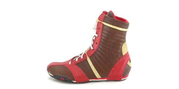 Dámske kožené hnedo-červeno-zlaté vysoké šnurovacie topánky Diesel