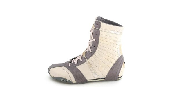 Dámske kožené šedo-béžové vysoké šnurovacie topánky Diesel