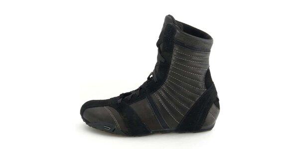 Dámske kožené čierne vysoké šnurovacie topánky Diesel