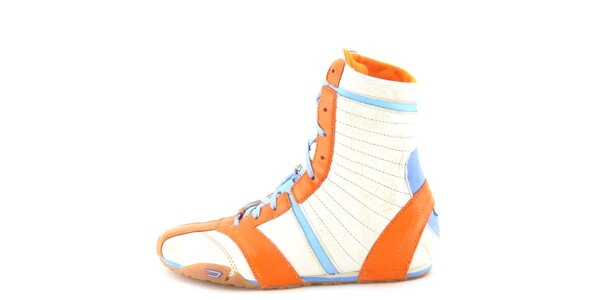 Dámske kožené béžovo-oranžovo-modré vysoké šnurovacie topánky Diesel