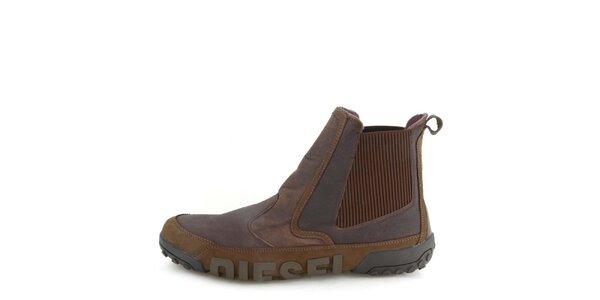 Pánske kožené tmavo hnedé členkové topánky Diesel