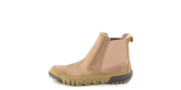 Pánske kožené béžové členkové topánky Diesel
