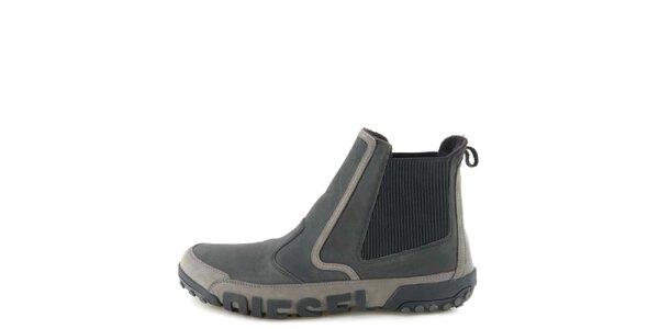 Pánske kožené čierno-šedé členkové topánky Diesel