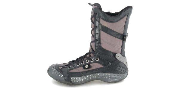 Dámske kožené hnedo-šedé vysoké šnurovacie topánky s perforáciou Diesel