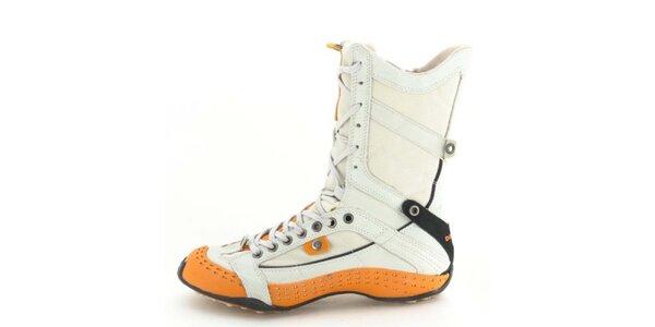 Dámske kožené šedo-oranžové vysoké šnurovacie topánky s perforáciou Diesel