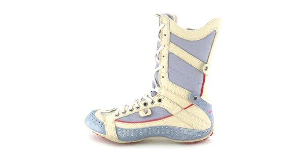 Dámske kožené béžovo-modro-červené vysoké šnurovacie topánky s perforáciou…