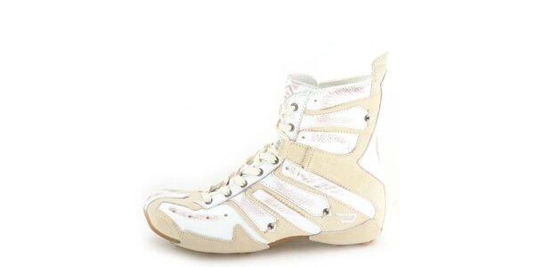 Dámske kožené vysoké béžové šnurovacie topánky so smotanovo bielymi prvkami…