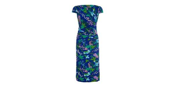 Dámske modré šaty s potlačou kvetín Fever